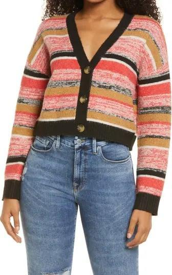 <p>Just because summer's over doesn't mean you can no longer wear smile-inducing pieces. With a cute striped pattern and fun color palette, this <span>BP. Crop Cardigan</span> ($40) will brighten up your look in a snap.</p>
