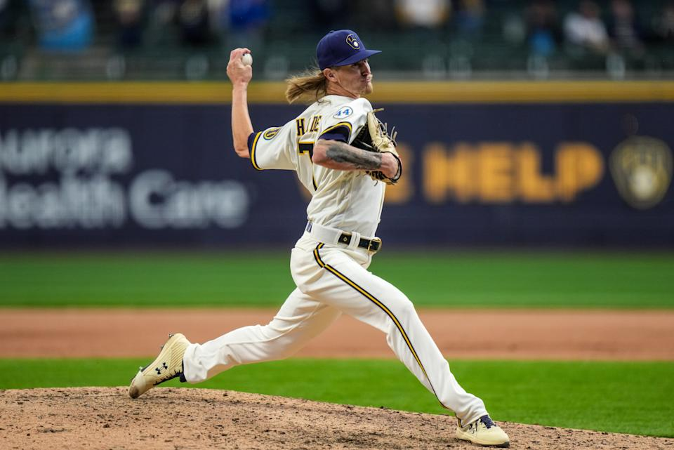 MILWAUKEE, WI - APRIL 01: Josh Hader #71 of the Milwaukee Brewers pitches against the Minnesota Twins on April 1, 2020 at American Family Field in Milwaukee, Wisconsin. (Photo by Brace Hemmelgarn/Minnesota Twins/Getty Images)