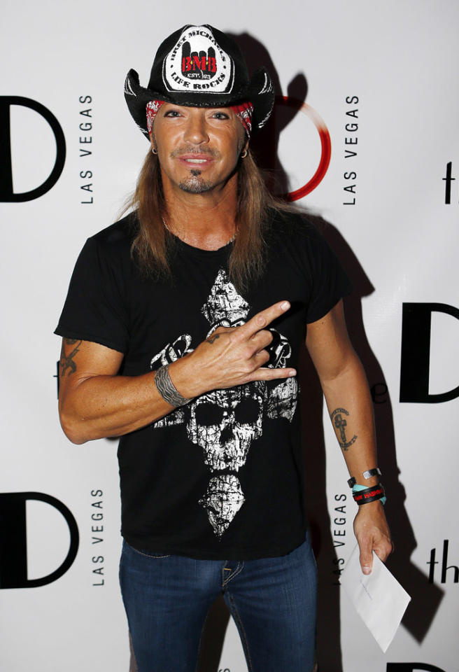 LAS VEGAS - OCTOBER 13:  Singer Bret Michaels arrives at the grand opening of The D Las Vegas celebration at the Fremont Street Experience on October 13, 2012 in Las Vegas, Nevada.  (Photo by Isaac Brekken/Getty Images for The D Las Vegas)