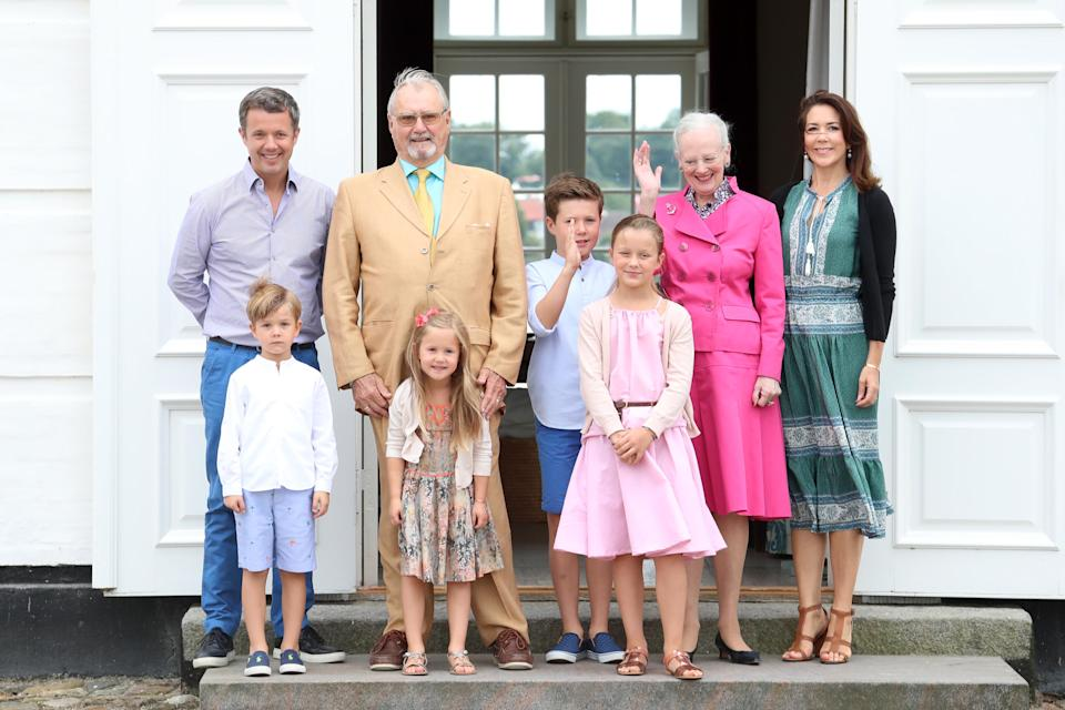 <p>Queen Margrethe II reigns over Denmark and here, is photographed alongside her husband, Prince Henrik, who sadly passed away in February 2018. Their son, Prince Frederik and his wife Crown Princess Mary have four children together: Princess Isabella, Princess Josephine, Prince Christian and Prince Vincent. <em>[Photo: Getty]</em> </p>