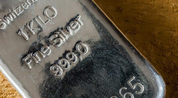 HL stock: a close up of a bar of silver