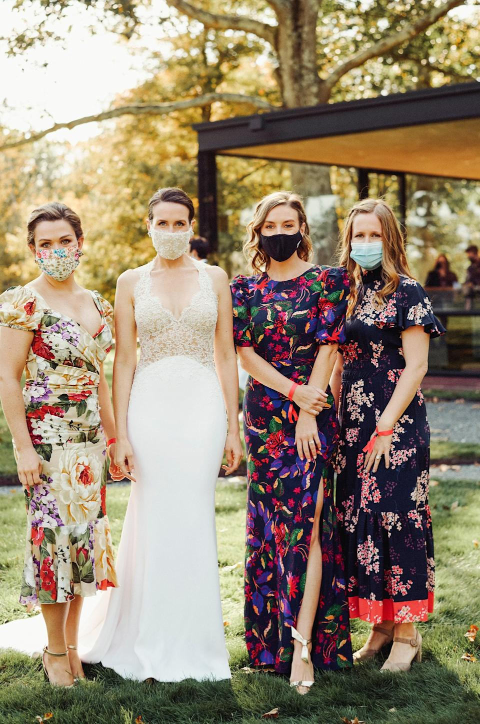 """My friends fully committed to the """"florals recommended"""" dress code."""