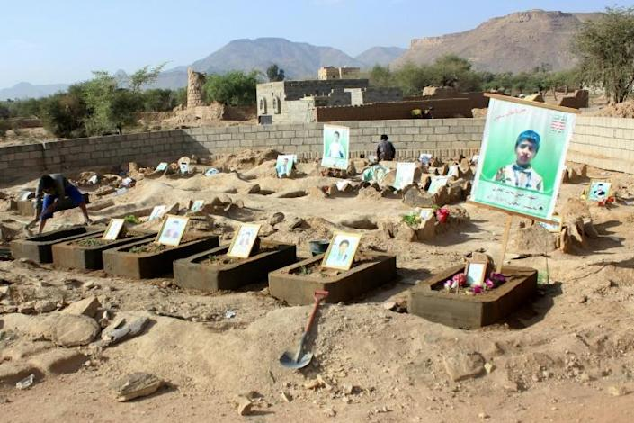An air strike by the Saudi-led coalition on a school bus in Yemen's Dahyan region in 2018 killed at least 40 children (AFP Photo/STRINGER)