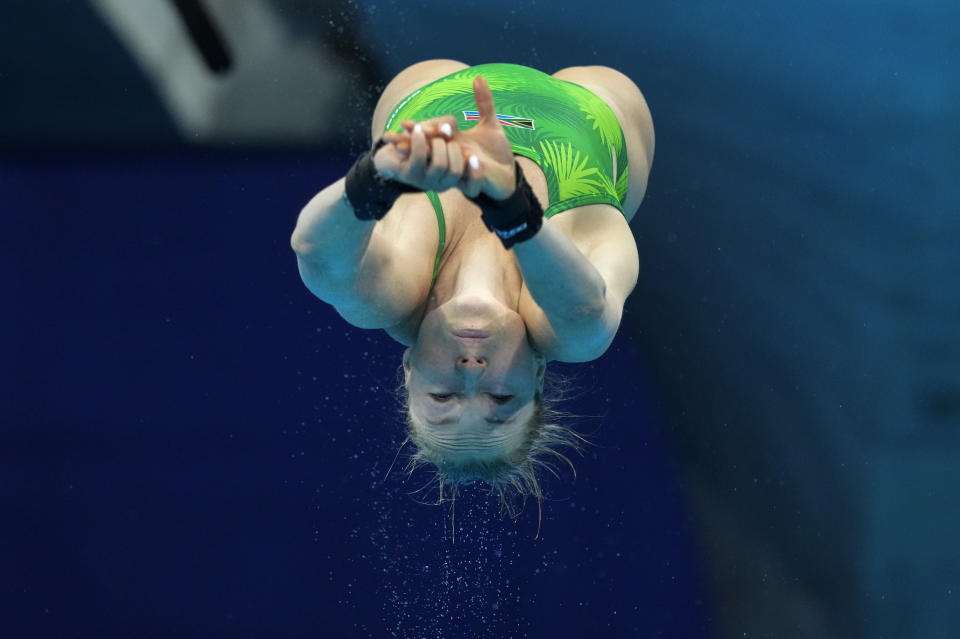 Julia Vincent of South Africa competes in women's diving 3m springboard preliminary at the Tokyo Aquatics Centre at the 2020 Summer Olympics, Friday, July 30, 2021, in Tokyo, Japan. (AP Photo/Dmitri Lovetsky)