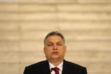 Hungarian Prime Minister Orban speaks during a joint news conference with Bulgaria's Prime Minister Borissov in Sofia