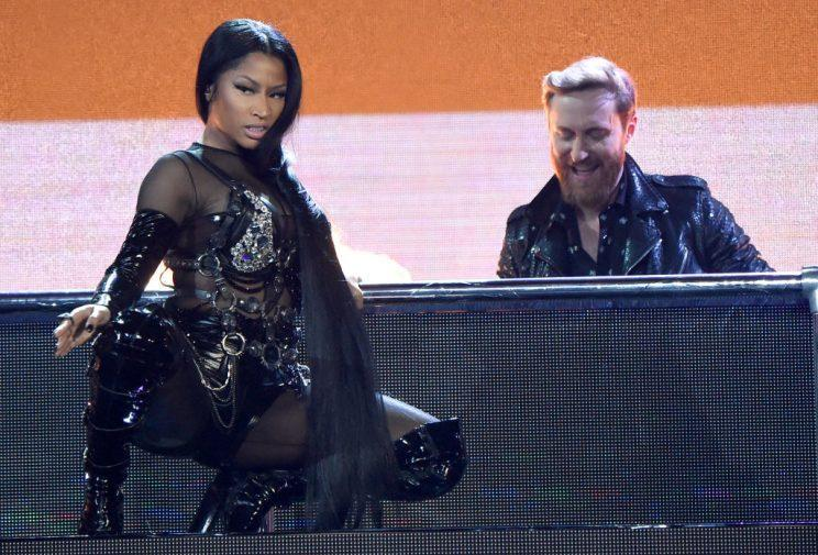LAS VEGAS, NV – MAY 21: DJ David Guetta (top) and rapper Nicki Minaj perform onstage during the 2017 Billboard Music Awards at T-Mobile Arena on May 21, 2017 in Las Vegas, Nevada. (Photo by Kevin Mazur/BBMA2017/Getty Images for dcp)