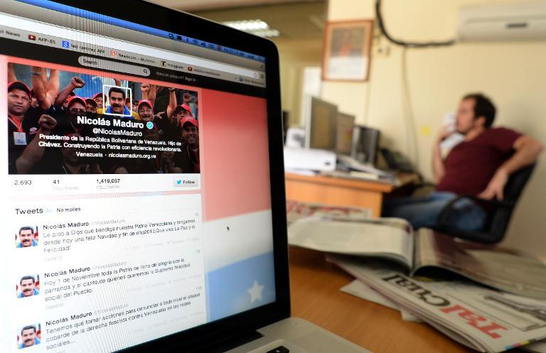 A computer screen showing the Twitter account of Venezuelan President Nicolas Maduro, in Caracas on October 1, 2013