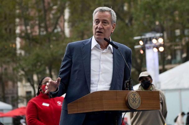 PHOTO: Mayor Bill de Blasio speaks at the opening of the Bank of America 'Winter Village' at Bryant Park, Nov. 5, 2020, in New York City. (Alexi Rosenfeld/Getty Images, FILE)