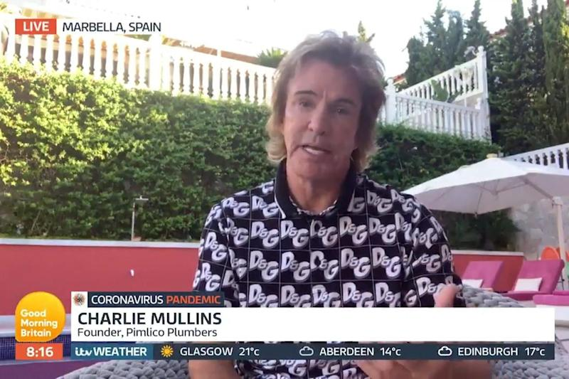 Charlie Mullins spoke to Good Morning Britain via video link from his Marbella home