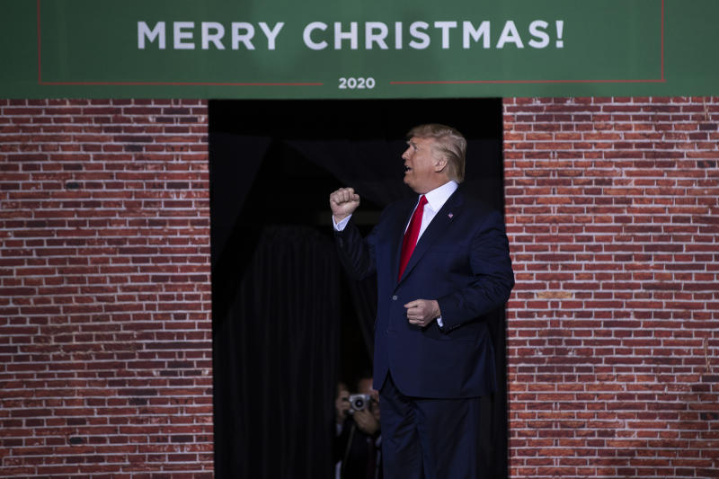 FILE - In this Wednesday, Dec. 18, 2019 file photo, President Donald Trump speaks during a campaign rally at Kellogg Arena, Wednesday, Dec. 18, 2019, in Battle Creek, Mich. (AP Photo/Evan Vucci, File)