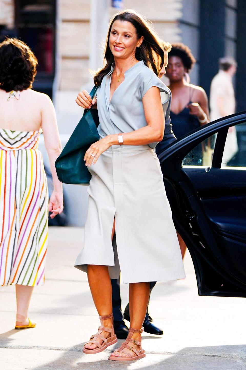 <p>Bridget Moynahan arrives on the set of <em>And Just Like That</em> on July 19 in N.Y.C.</p>