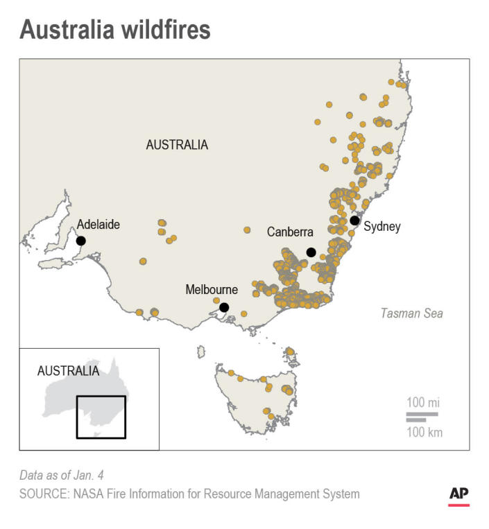 Map shows wildfires in southeastern Australia; 2c x 4 inches; 96.3 mm x 101 mm;