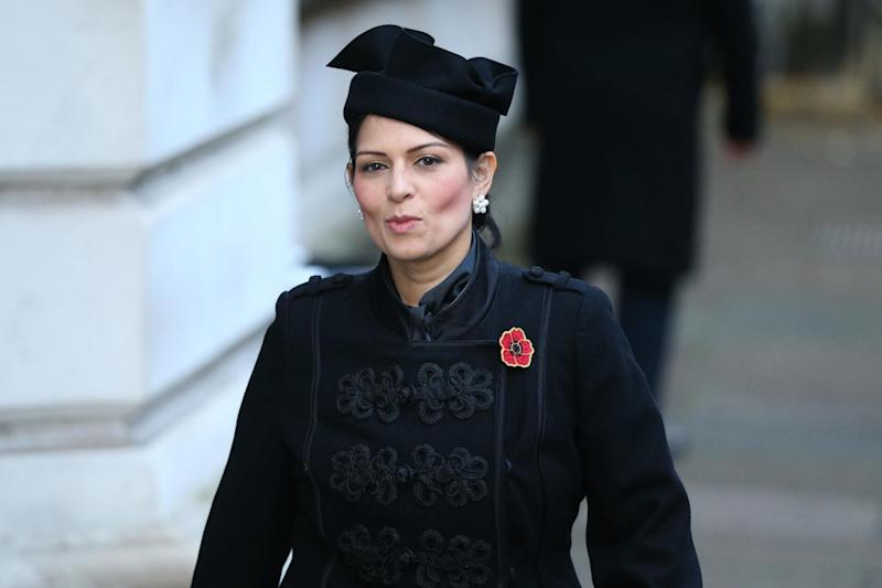Priti Patel laid a wreath honouring the intelligence services (PA)