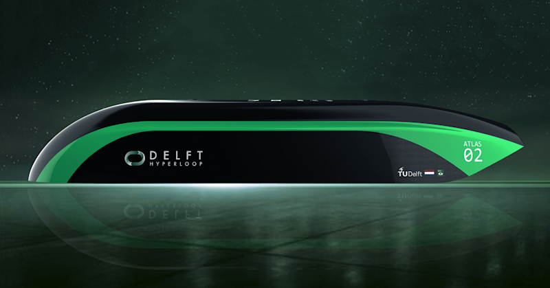 A concept image of Delft University of Technology's prototype Hyperloop pod, Atlas 02.