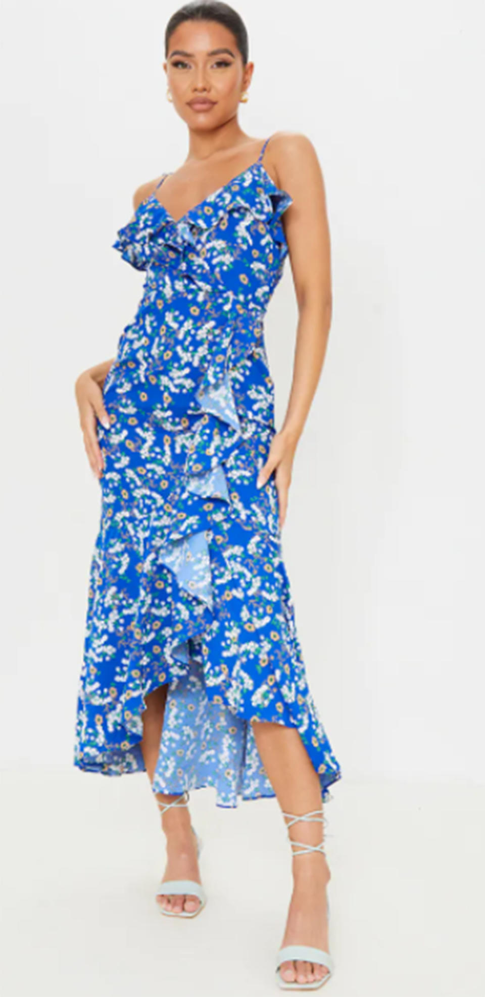 Pretty Little Thing Blue Floral Frill Detail Tie Strap Wrap Midi Dress, $46. Photo: Pretty Little Thing.