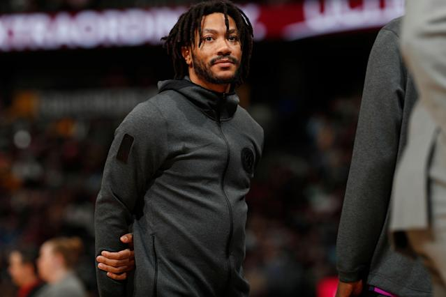 Minnesota Timberwolves guard Derrick Rose (25) will miss the rest of the season with an elbow injury. (AP Photo/David Zalubowski)