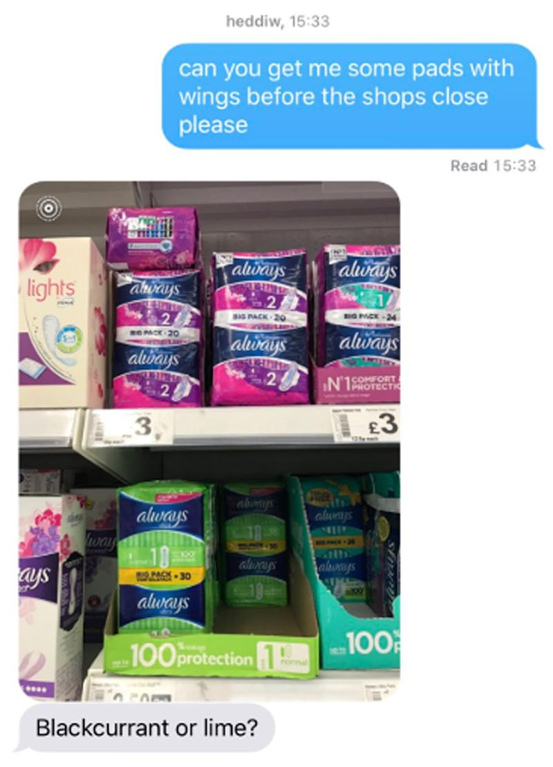 A text exchange between a woman and her dad. He's asking her to pick up sanitary pads before the shop closes.