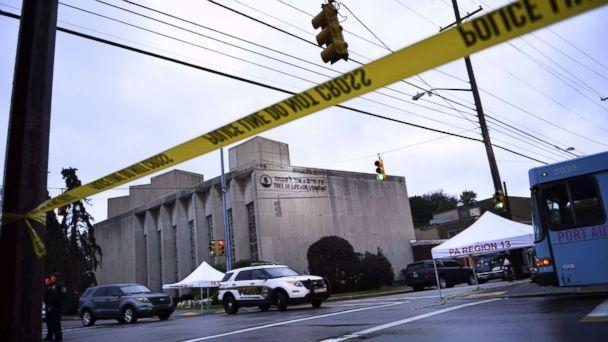 PHOTO: Police tape is viewed around the area, Oct. 28, 2018, outside the Tree of Life Synagogue after a fatal shooting in Pittsburgh, Oct. 27, 2018.  (Brendan Smialowski/AFP/Getty Images)