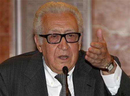 United Nations Peace Envoy for Syria Lakhdar Brahimi speaks during a news conference in Damascus