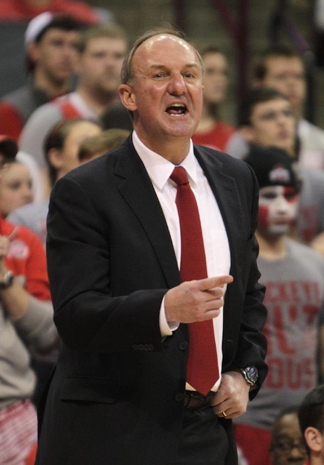 Ohio State's head coach Thad Matta instructs his team against Iowa during the first half of an NCAA college basketball game on Sunday, Jan. 12, 2014, in Columbus, Ohio. Iowa won 84-74. (AP Photo/Jay LaPrete)