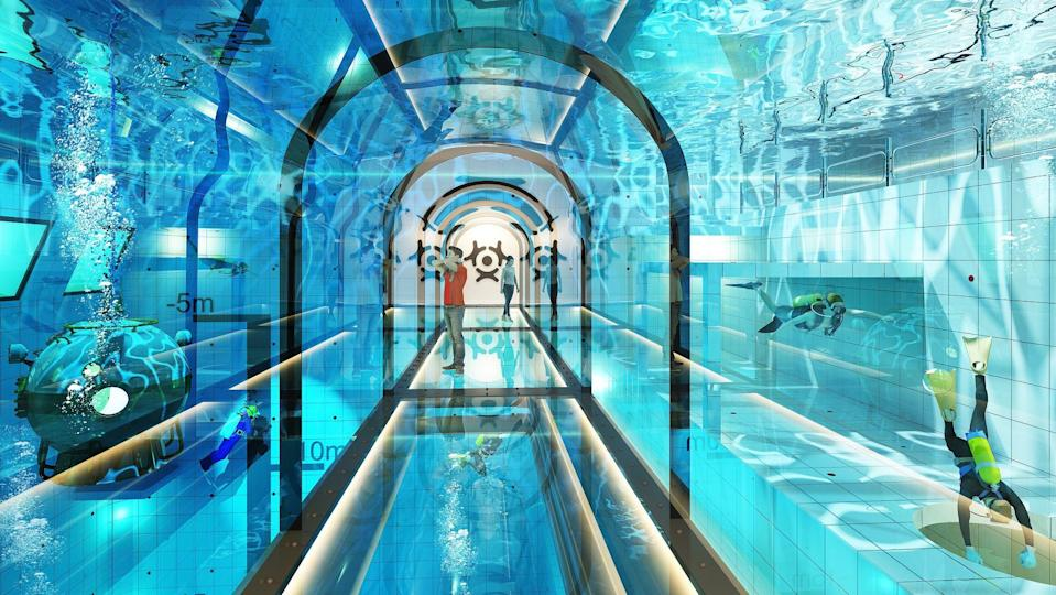 If they do not wish to dive, people will also have the option of walking through the pool in a glass tunnel. Source: CEN