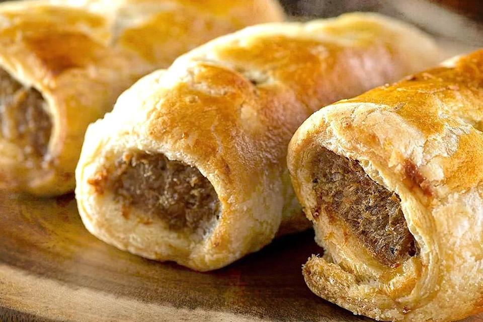 Scrumptious sausage rolls with handmade French butter puff pastry.