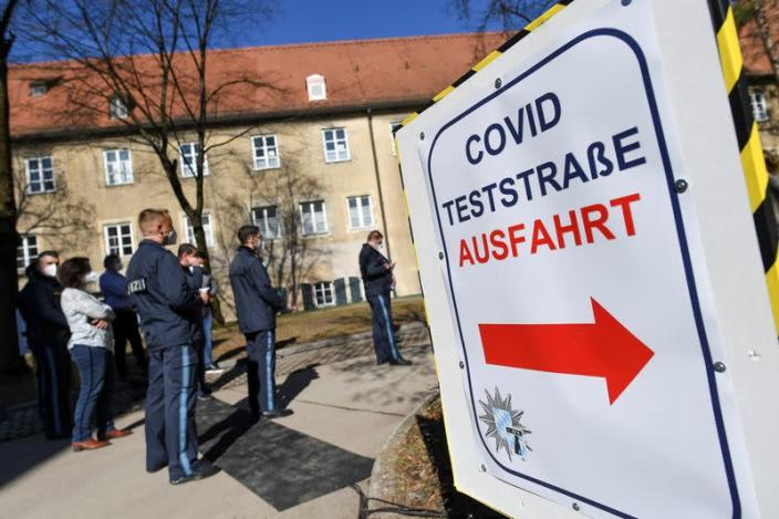 German police attend media conference on COVID-19 vaccination program in Munich