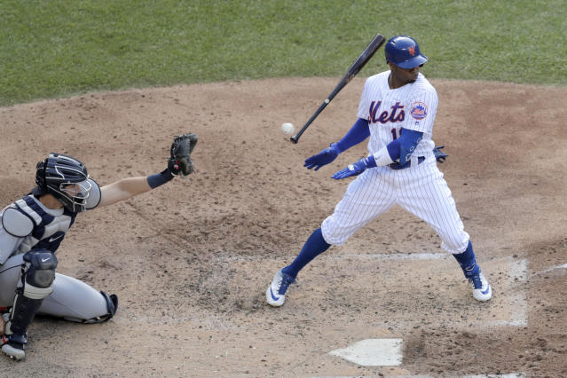 New York Mets' Rajai Davis lets go of his bat as a pitch from Detroit Tigers starting pitcher Ryan Carpenter comes in on him during the fifth inning of an interleague baseball game, Saturday, May 25, 2019, in New York. (AP Photo/Julio Cortez)