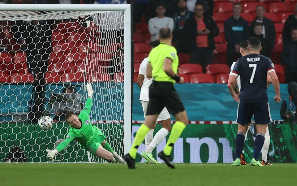 Jordan Pickford of England makes a save from a shot from Stephen O'Donnell (Not pictured) of Scotland during the UEFA Euro 2020 Championship Group D match between England and Scotland at Wembley Stadium on June 18, 2021 in London - GETTY IMAGES