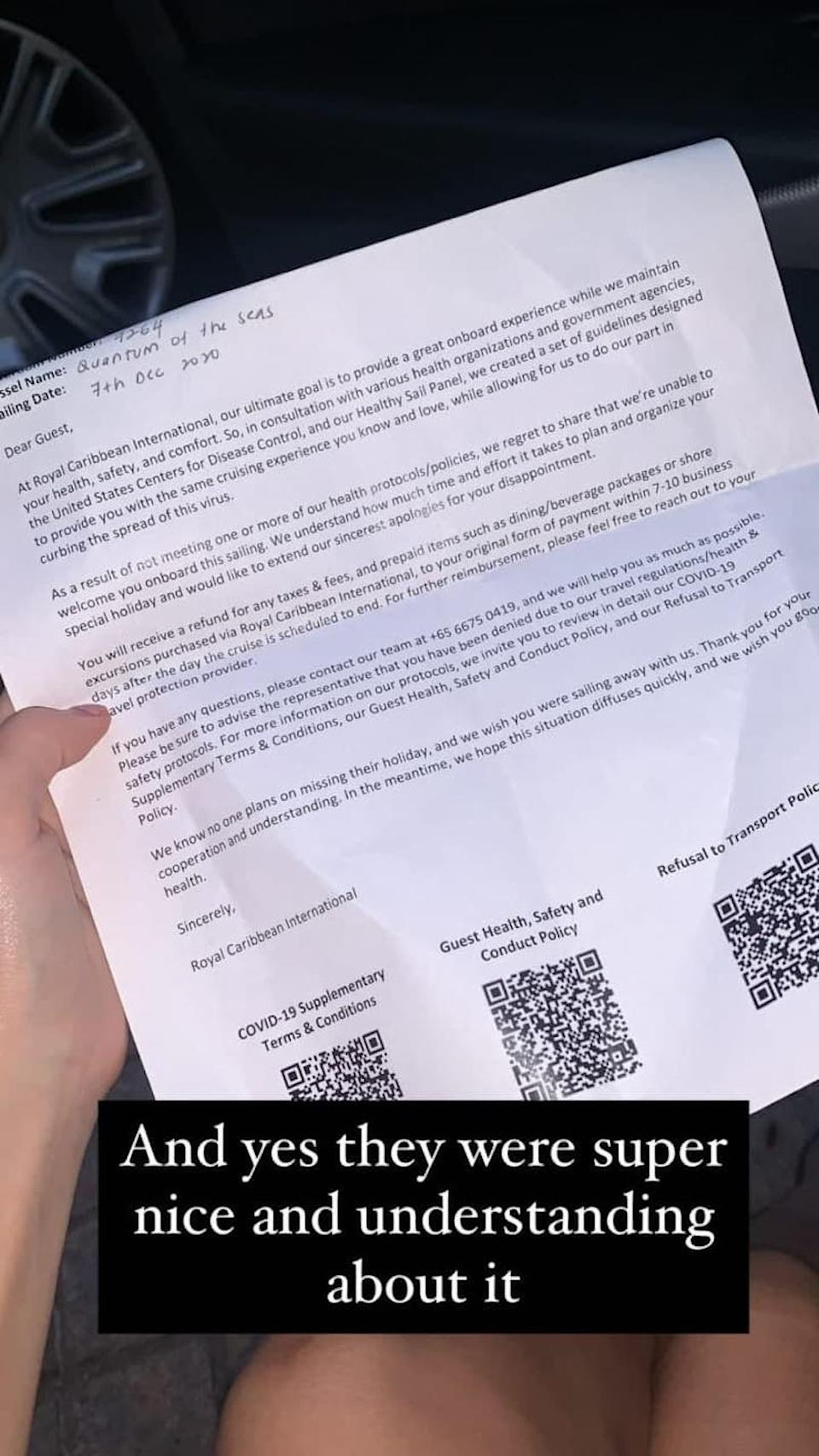 Jade Rasif shared a photo of the letter she received from Royal Caribbean with the caption: 'And yes they were super nice and understanding about it.'
