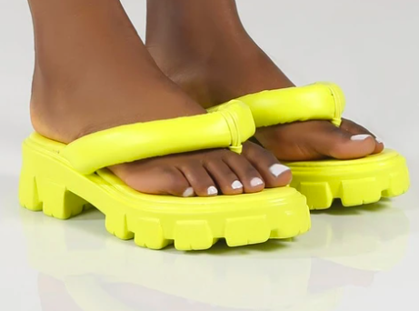 State yellow chunky sole thong strap sandals (Public Desire)