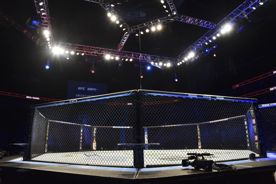 General view of the empty octagon before UFC Fight Night at VyStar Veterans Memorial Arena. Mandatory Credit: Jasen Vinlove-USA TODAY Sports
