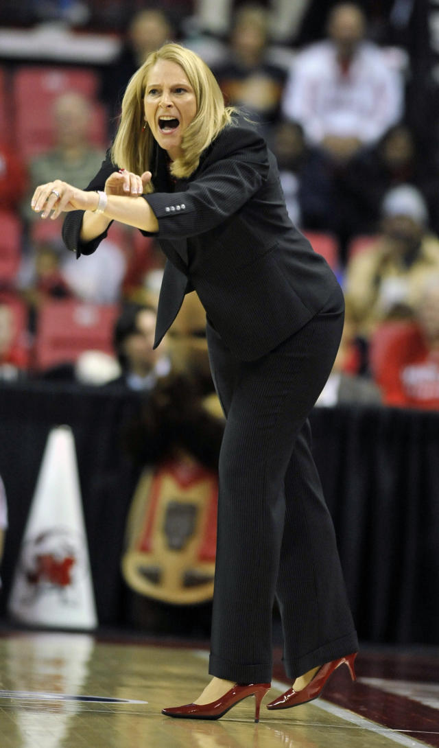Maryland coach Brenda Frese calls to an official during the first half of the first-round game against Army in the NCAA women's college basketball tournament on Sunday, March 23, 2014, in College Park, Md. Maryland won 90-52. (AP Photo/Gail Burton)