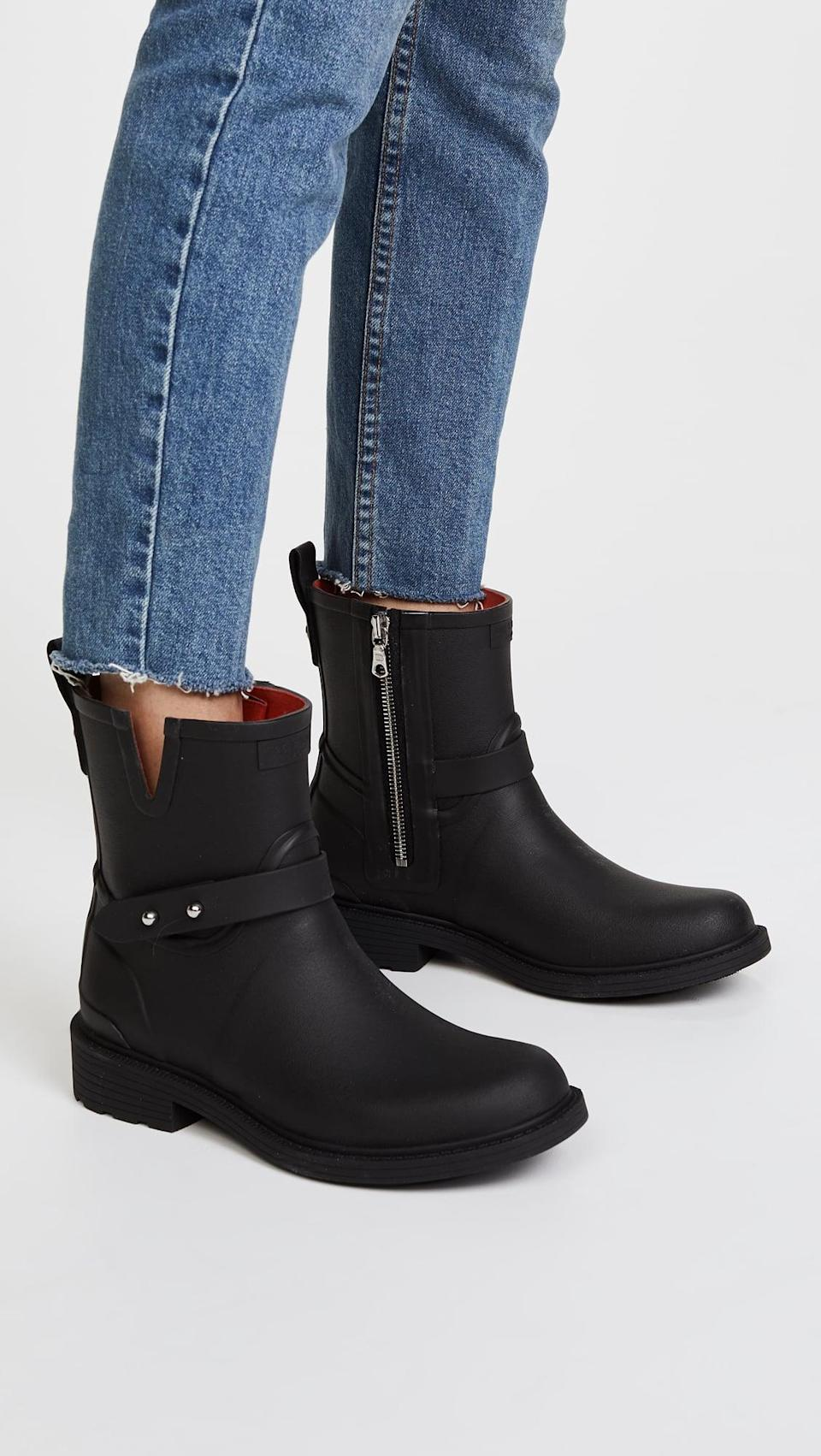<p>These <span>Rag &amp; Bone Moto Rain Boots</span> ($225) look like regular classic motorcycle boots. If you can't part with your biker boots, these are the shoes for you.</p>