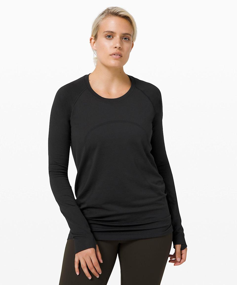 "<p>""Whether I take my workouts outside or do them in my chilly apartment, a long-sleeved shirt I can work out in is a must. I've been loving the <span>Lululemon Swiftly Tech Long Sleeve 2.0 Shirt</span> ($78) the brand sent me for my winter workouts. I like that it's more loose-fitting, but it still feels fitted enough to stick to you while you work out. Plus, it's not too warm, and my skin can still breathe when I get sweaty. Another bonus? If I do a lunchtime workout, it looks chic enough to wear on a work video call afterward."" - CS</p>"