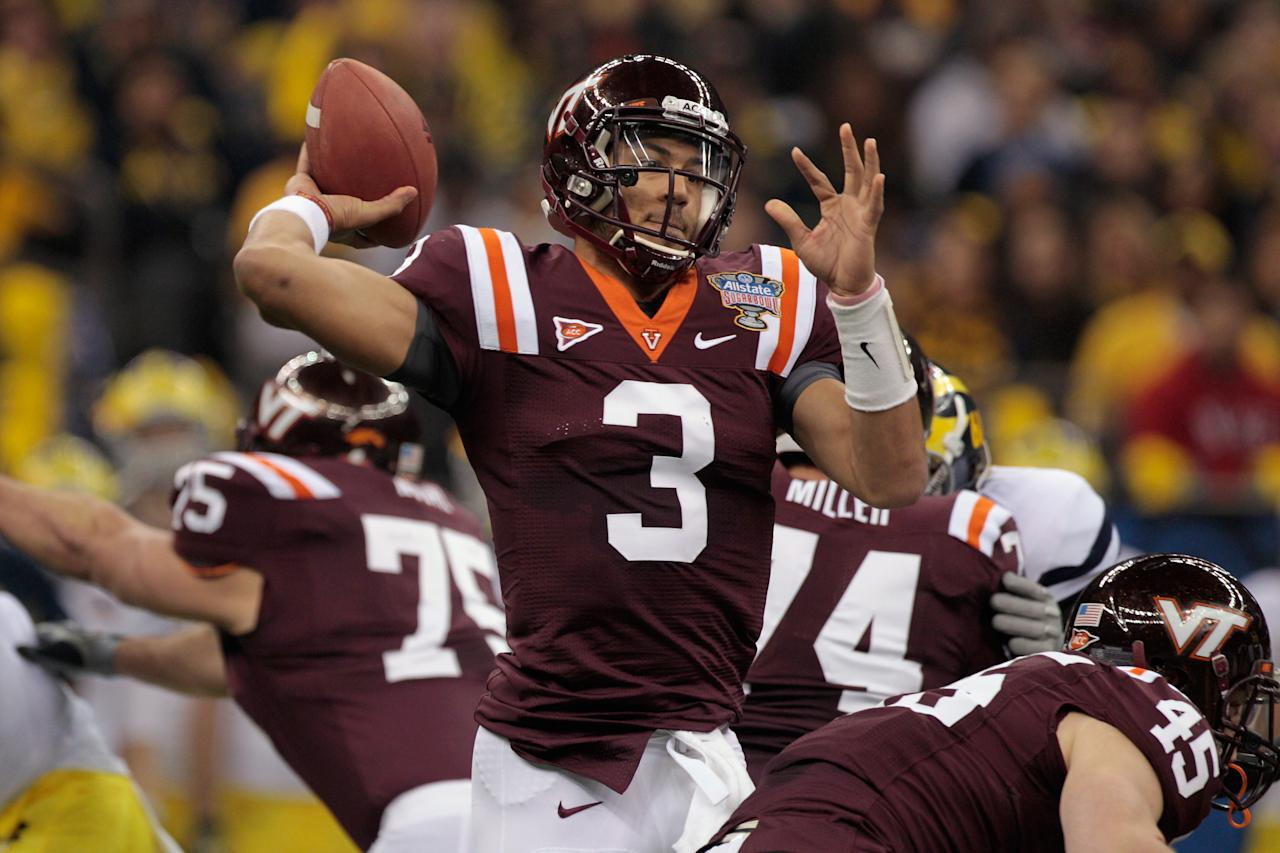 NEW ORLEANS, LA - JANUARY 03:  Logan Thomas #3 of the Virginia Tech Hokies throws a pass against the Michigan Wolverines during the Allstate Sugar Bowl at Mercedes-Benz Superdome on January 3, 2012 in New Orleans, Louisiana.  (Photo by Chris Graythen/Getty Images)