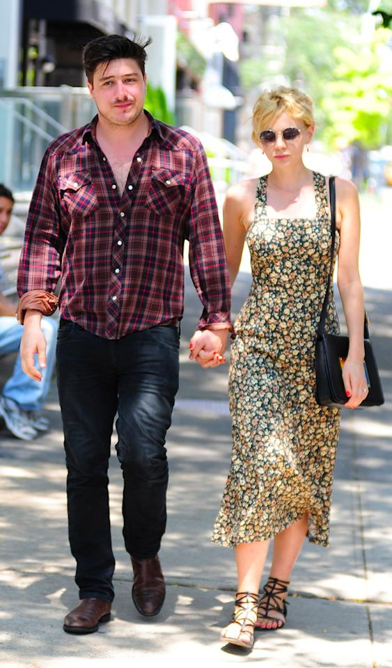 NEW YORK, NY - AUGUST 02: Marcus Mumford and Carey Mulligan are seen in SoHo on August 2, 2012 in New York City. (Photo by Alo Ceballos/FilmMagic)