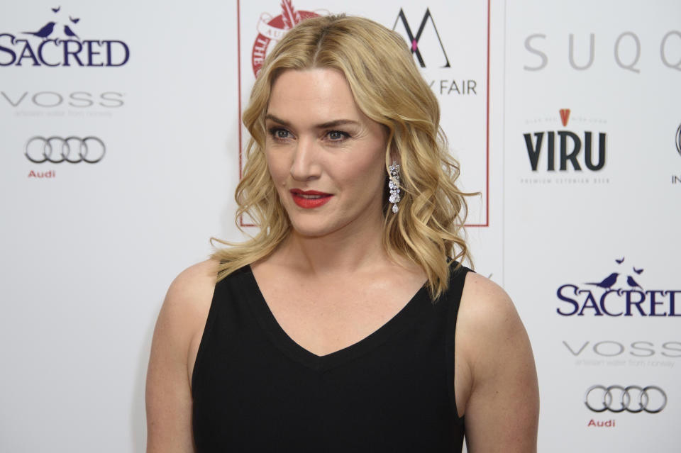 FILE - In this Jan. 17, 2016 file photo, Kate Winslet poses for photographers at the Critics Circle Awards at a central London venue, London. Winslet has joined the