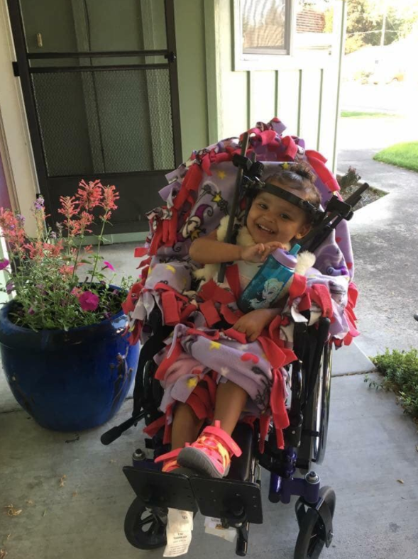 Tanya believes if her daughter had been rear-facing, she wouldn't have suffered her injuries. Photo: Facebook/Tanya Bender