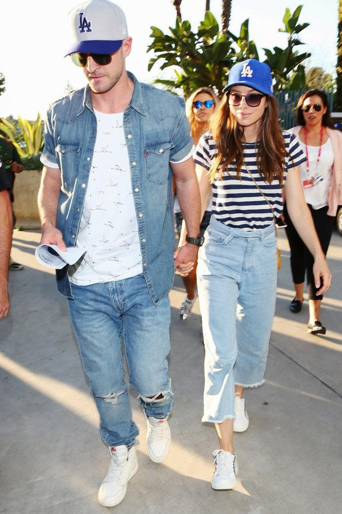 Justin Timberlake and Jessica Biel Twin in Matching Dodgers Hats at the  World Series 9bcba92f613