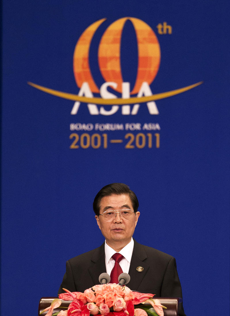 Chinese President Hu Jintao delivers his speech during the opening of the Boao Forum for Asia in Boao, China, Friday, April 15, 2011. (AP Photo/Andy Wong)