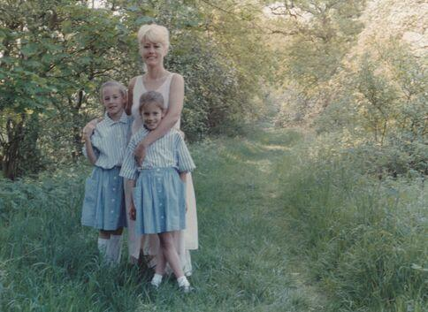 Jody, Caroline & Christine Flack, twin sisters and mother, Norfolk, 1980s