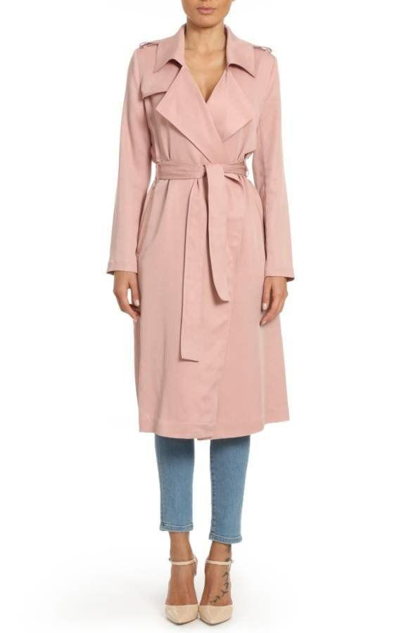 """The color, the length, the shape. What's not <a href=""""http://shop.nordstrom.com/s/badgley-mischka-faux-leather-trim-long-trench-coat/4597935?origin=category-personalizedsort&fashioncolor=LIP%20KIT"""" target=""""_blank"""">to love</a>?"""