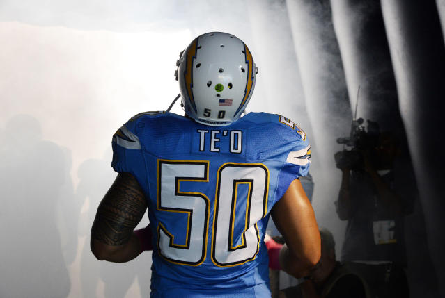 Te'o was drafted in the second round to the San Diego Chargers. He signed a 4-year contract and ended the 2013 season with 61 tackles and 4 passes blocked.