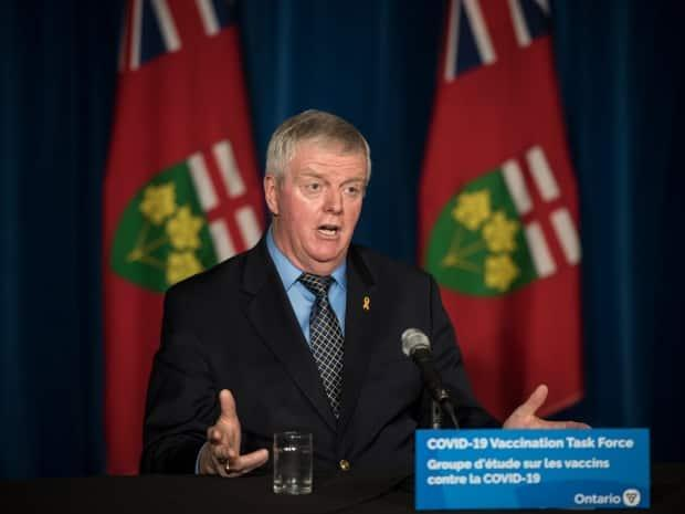 Rick Hillier, chair of Ontario's COVID-19 vaccine distribution task force, said a call centre and web portal will soon be launched to help people book appointments.