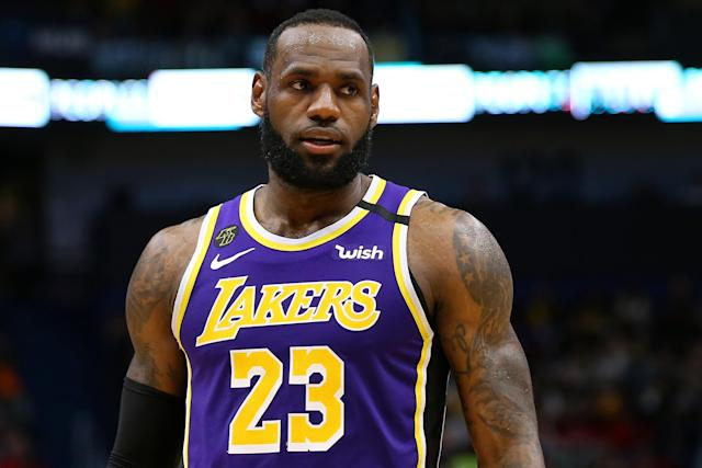 """LeBron James says he'd be """"disappointed,"""" but is willing to play games without fans if necessary. (Jonathan Bachman/Getty Images)"""