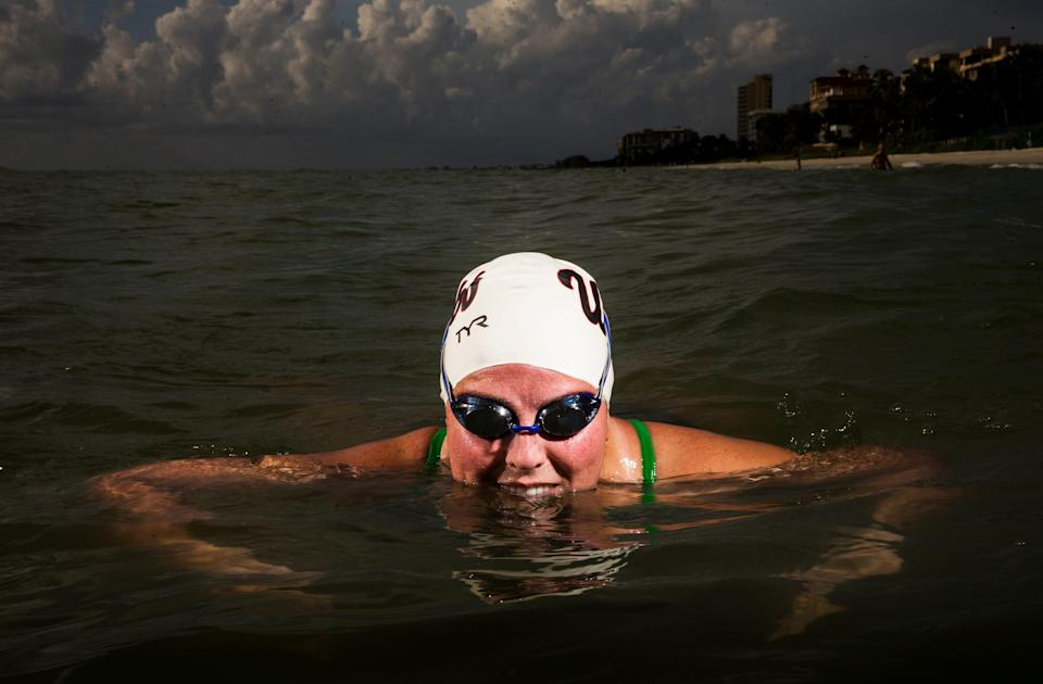 Heather Roka finished a double crossing of the English channel from England to France and back on August 21, 2021. In 2017 she crossed one way. The swim is over 42 miles long.  This portrait was photographed at Vanderbilt Beach in Naples