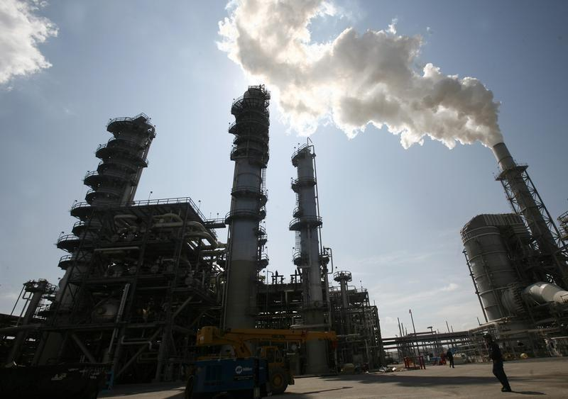 The Valero St. Charles oil refinery is seen during a tour of the refinery in Norco