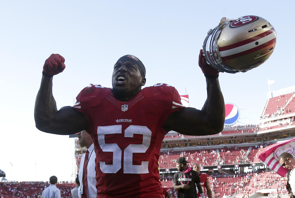 San Francisco 49ers linebacker Patrick Willis after a 2014 win over the Chiefs. It would be his second-to-last NFL game. (AP Photo/Marcio Jose Sanchez)