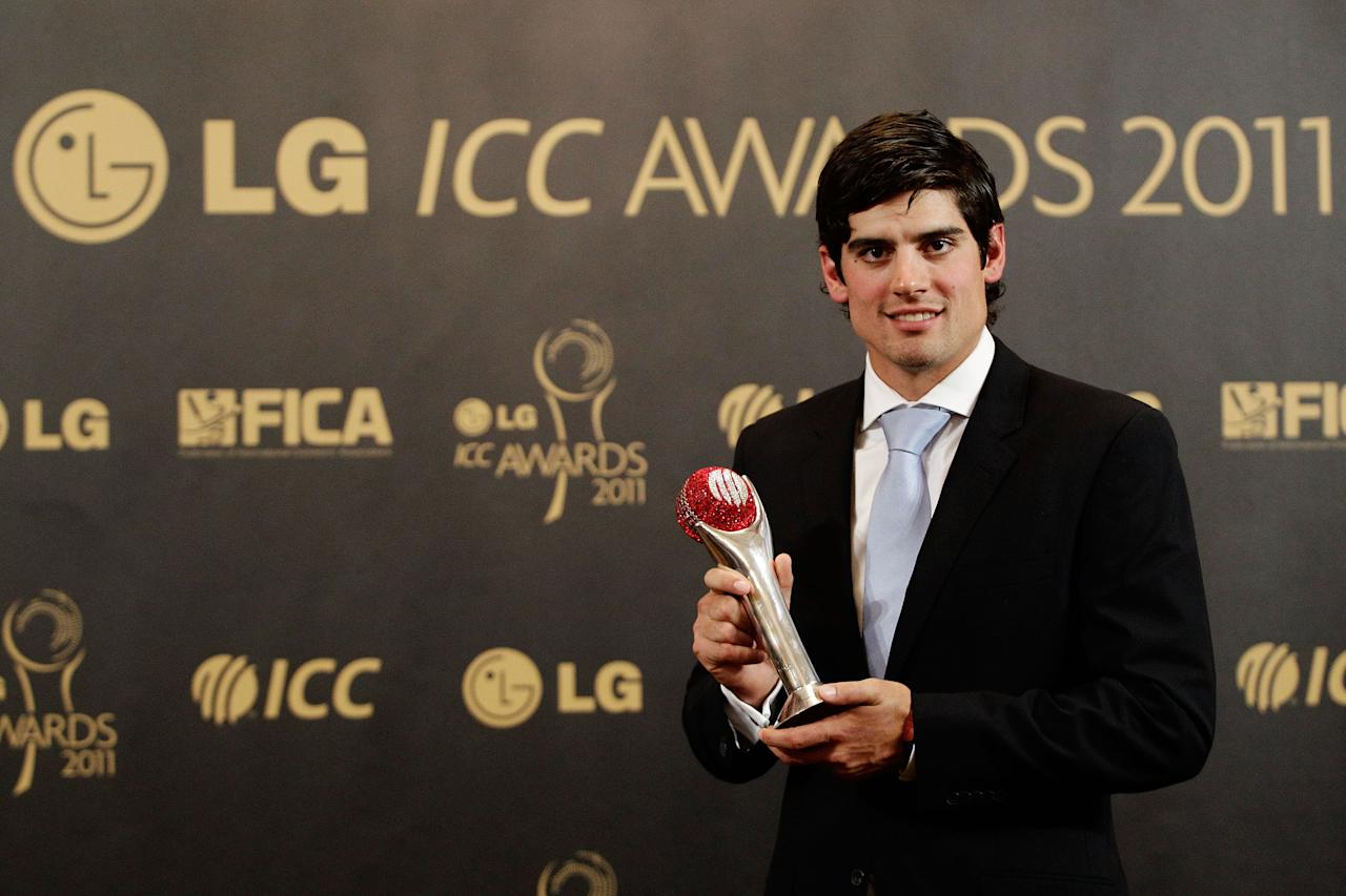 LONDON, ENGLAND - SEPTEMBER 12:  Alastair Cook of England poses with his award after being voted ICC Test Cricketer of the Year during the LG ICC Awards at The Grosvenor House Hotel on September 12, 2011 in London, England.  (Photo by Brendon Thorne/Getty Images)